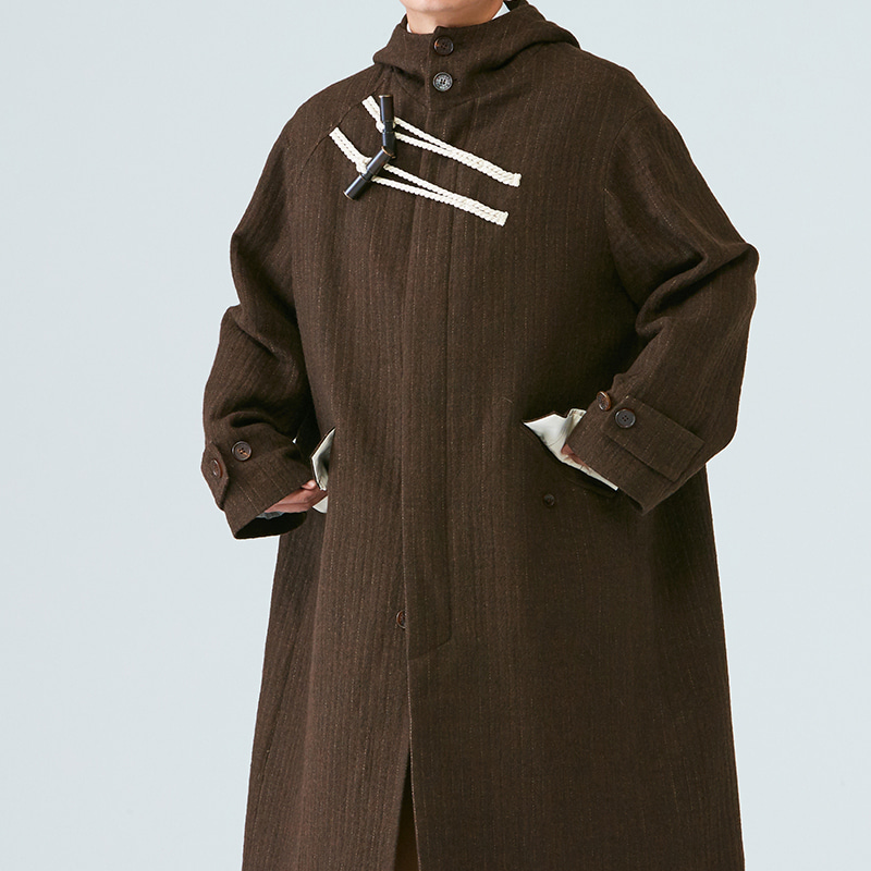 Inverted pleats hoodie duffel Coat_Brown stripe