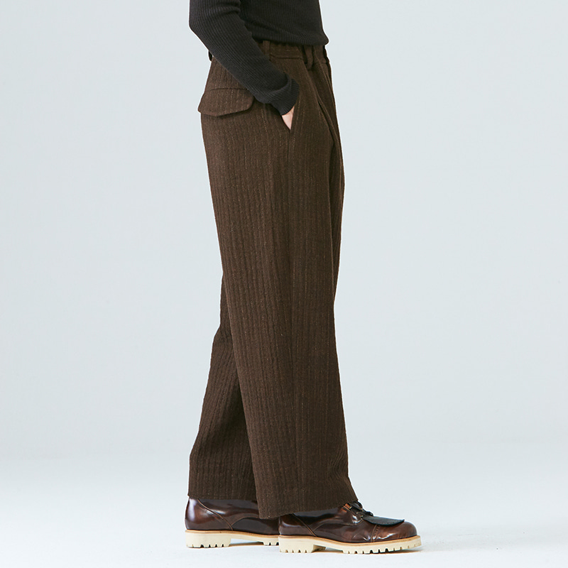 Banding wide pants_Brown stripe