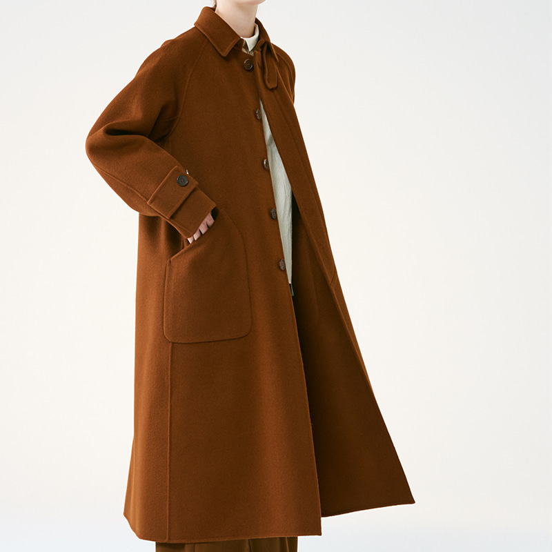 Wool balmacaan coat _Brown