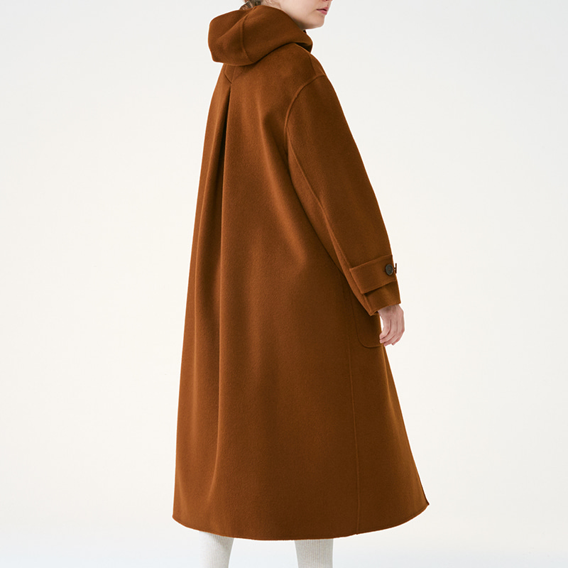Wool hoodie coat _Brown