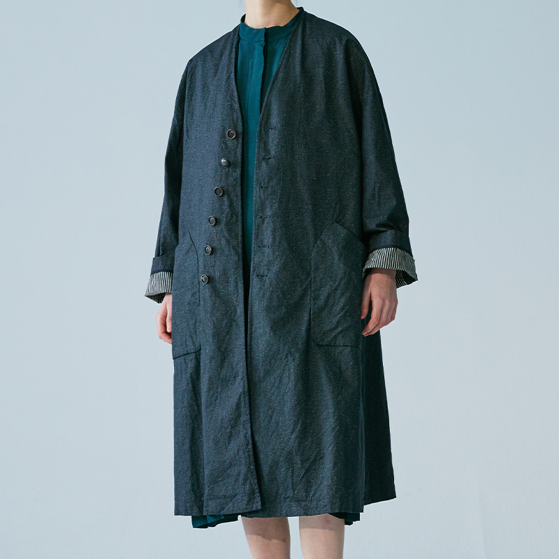 Diagonal single coat_Indigo charcoal(Garments Washing Finish)