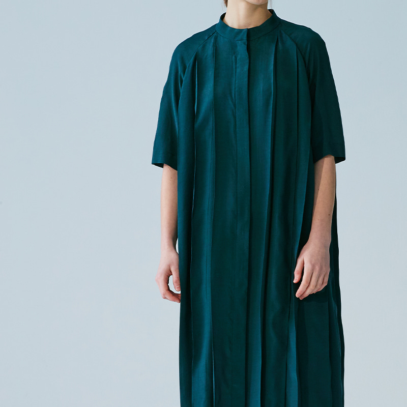 Pleats raglan One piece_Deep teal green