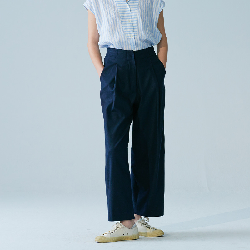 One-tuck straight pants_Navy