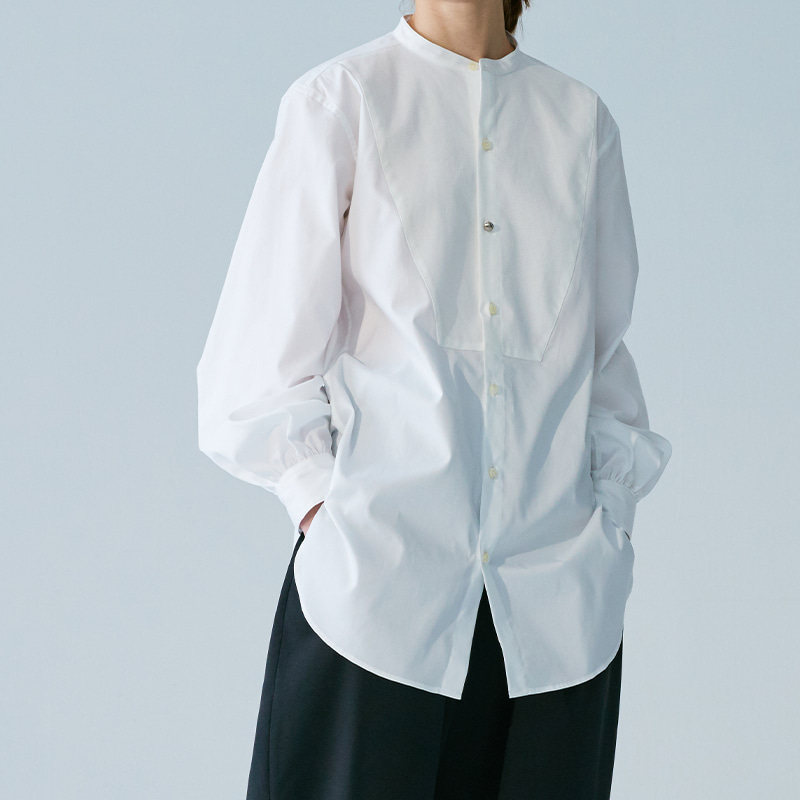 Non-collar bishop sleeve shirts_Off white