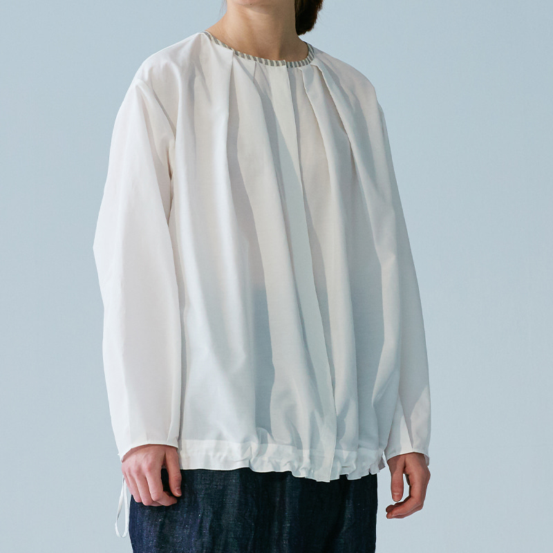 Oversized string silk blouse_Off white