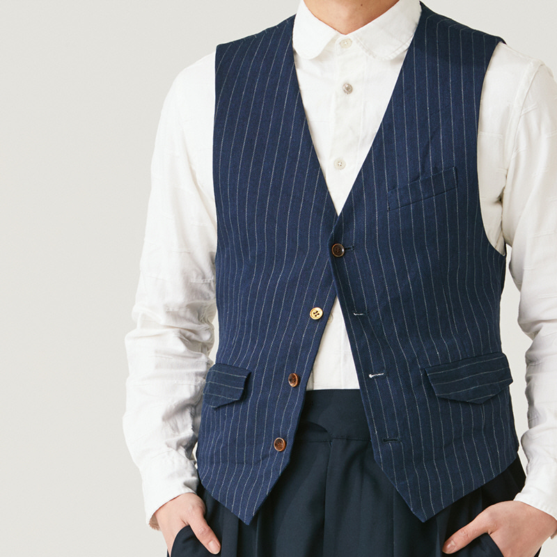 Buckle vest_Navy(Garments Washing Finish)