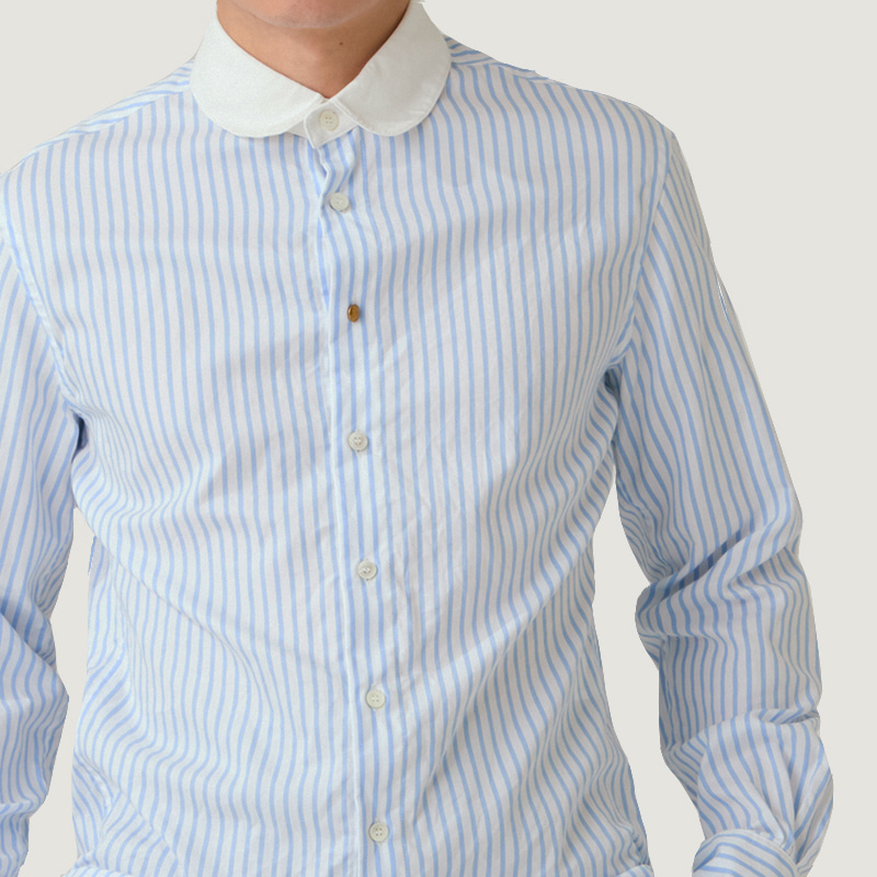 Detachable-collar shirts_Blue stripe