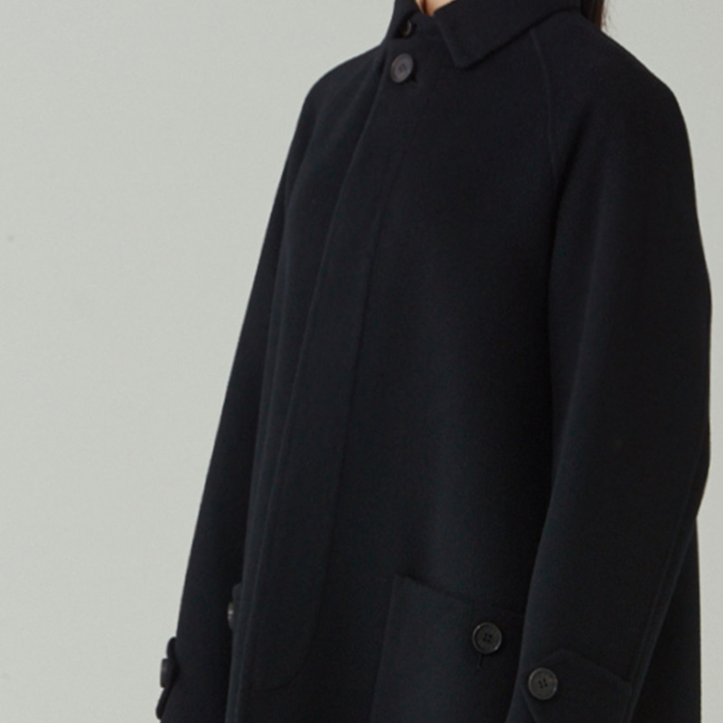 Hand-made Inverted pleats balmacaan coat_Black