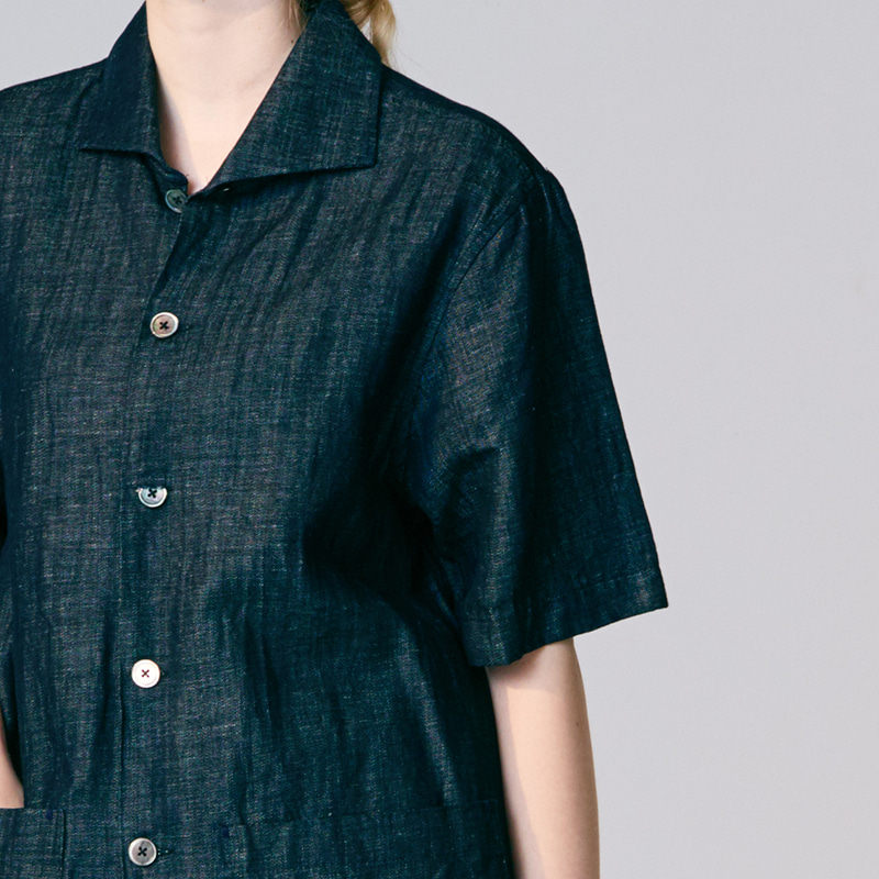 Wing collar half sleeve shirts_Denim Indigo(Garments Washing Finish)